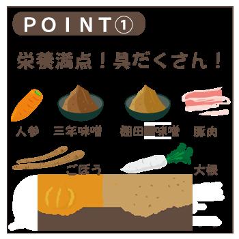 ポイント1石井味噌のレトルト豚汁は具沢山